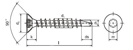 Samovrtný vrut ZH T 6 dr. 4,0 x 60 ZZ do dřeva TORX