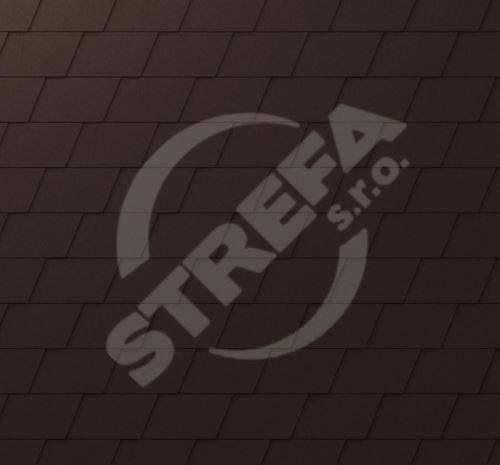PREFA falcovaný šindel, povrch stucco, Oříšková P.10
