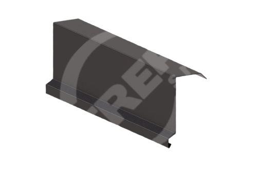 Závětrná lišta r.š. 330mm-horní, Lakovaný pozinkovaný plech s folií, Tmavě hnědá (RAL 8019)
