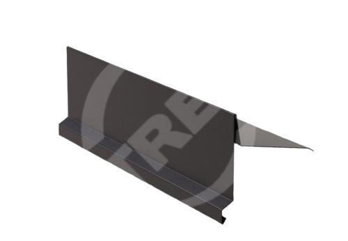 Závětrná lišta r.š. 250mm-na pultovou střechu, Lakovaný pozinkovaný plech s folií, Tmavě hnědá (RAL 8019)