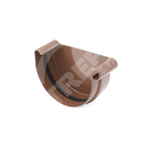 Čelo žlabu PRAVÉ plastové Ø 75 mm, Hnědá RAL 8017