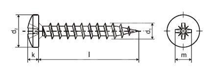 Vrut do dřeva PH PZ 4,0 x 30 ZB s půlkulatou hlavou