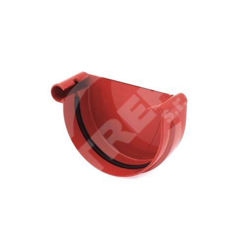 Čelo žlabu LEVÉ plastové Ø 125 mm, Červená RAL 3011