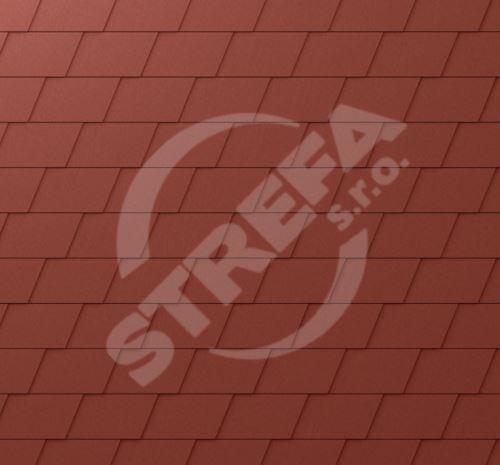 PREFA falcovaná šindel, povrch stucco, Tmavě červená P.10