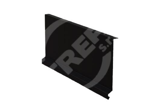 Závětrná lišta r.š. 250mm-pod krajovou tašku, Lakovaný pozinkovaný plech s folií, Černá (RAL9005)