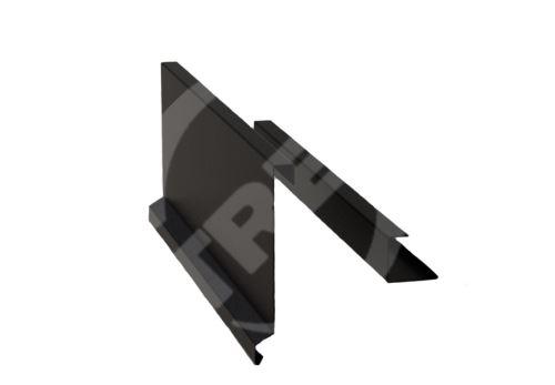 Závětrná lišta r.š. 375mm-ze dvou kusů pro plastovou šindel, Lakovaný pozinkovaný plech s folií, Černá (RAL9005)
