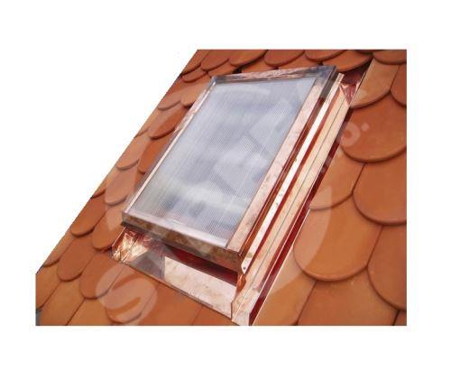 Střešní okno s makrolonem, 600 x 600 mm, měděné