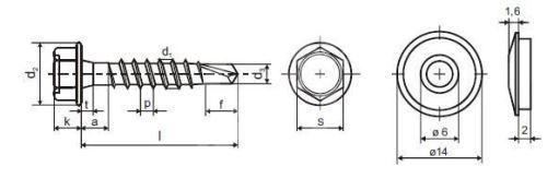Střešní šroub + EPDM 4,8 x 60 ZB red.vrták samovrtný