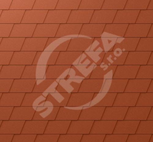 PREFA falcovaný šindel, povrch stucco, Cihlově červená P.10