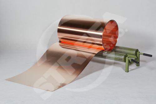 Měděný plech ve svitku 0,55 x 670 mm, tl. 0,55 mm