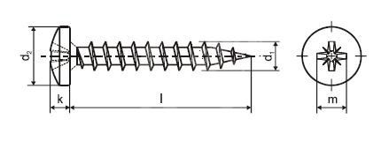 Vrut do dřeva PH PZ 3,5 x 30 ZB s půlkulatou hlavou