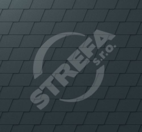 PREFA falcovaný šindel, povrch stucco, Antracit P.10
