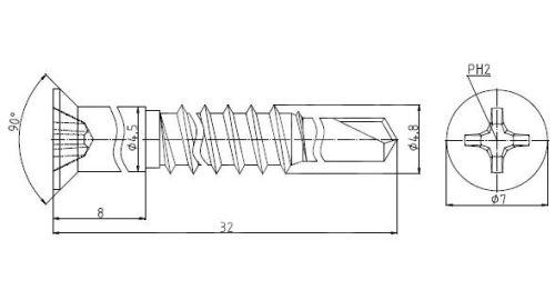Konfirmát samovrtný 3,0mm 7H 4,8x32 ZB do plechu