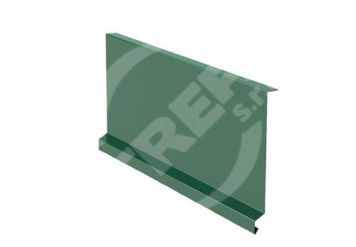 Závětrná lišta r.š. 250mm-pod krajovou tašku, Lakovaný pozinkovaný plech s folií, Mechově zelená (RAL 6005)