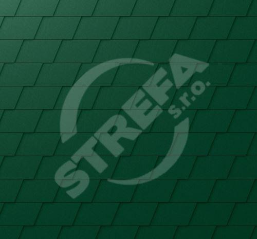 PREFA falcovaný šindel, povrch stucco, Mechově zelená P.10