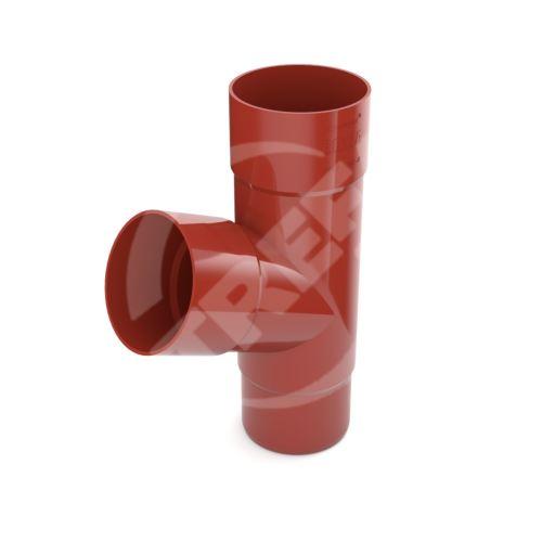 Odbočka svodu plastová Ø 63 mm, Červená RAL 3011