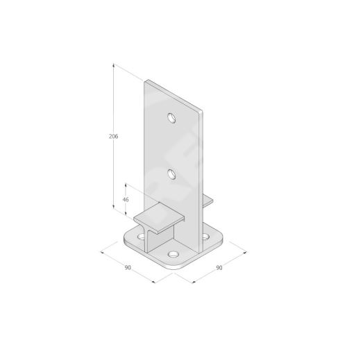 Patka sloupku PUW 140, rozměr 140x250x8, žárový zinek