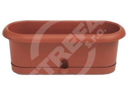 Truhlík na bylinky Pierina 30x10,5cm, s miskou, cihlově červený