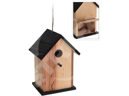 Ptačí budka zahnizďovací, dřevěná 16x14x17cm